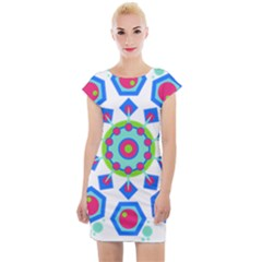 Mandala Geometric Design Pattern Cap Sleeve Bodycon Dress by Pakrebo