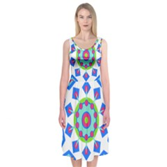 Mandala Geometric Design Pattern Midi Sleeveless Dress