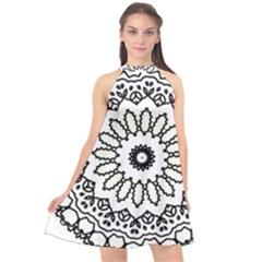 Mandala Kaleidoscope Arts Halter Neckline Chiffon Dress