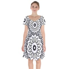 Mandala Kaleidoscope Arts Short Sleeve Bardot Dress