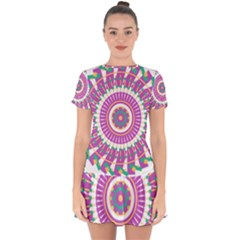 Mandala Geometric Pattern Shapes Drop Hem Mini Chiffon Dress by Pakrebo