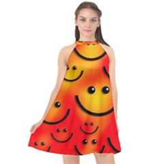 Smile Smiling Face Happy Cute Halter Neckline Chiffon Dress  by Pakrebo
