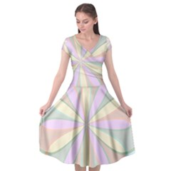 Flower Stained Glass Window Symmetry Cap Sleeve Wrap Front Dress by Pakrebo
