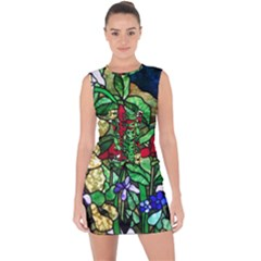 Stained Glass Art Window Church Lace Up Front Bodycon Dress by Pakrebo