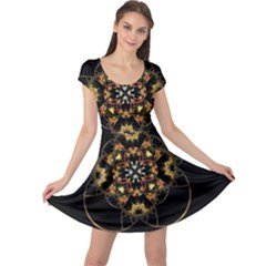 Fractal Stained Glass Ornate Cap Sleeve Dress