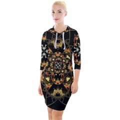 Fractal Stained Glass Ornate Quarter Sleeve Hood Bodycon Dress