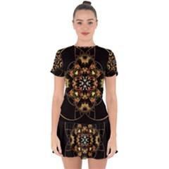 Fractal Stained Glass Ornate Drop Hem Mini Chiffon Dress