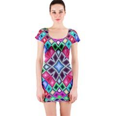 Kaleidoscope Pattern Sacred Geometry Short Sleeve Bodycon Dress by Pakrebo