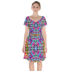 Kaleidoscope Pattern Sacred Geometry Short Sleeve Bardot Dress