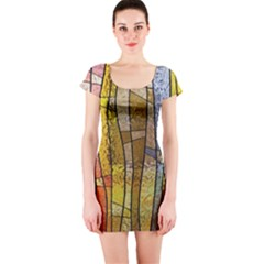 Stained Glass Window Colorful Short Sleeve Bodycon Dress