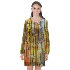 Stained Glass Window Colorful Long Sleeve Chiffon Shift Dress