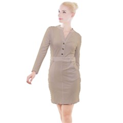 Just Squares Button Long Sleeve Dress by TimelessFashion