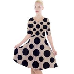 Polka Dots  Quarter Sleeve A Line Dress by TimelessFashion