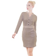 Simple Squares  Button Long Sleeve Dress by TimelessFashion