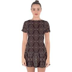 Timeless In Black And Almond Buff Drop Hem Mini Chiffon Dress by TimelessFashion