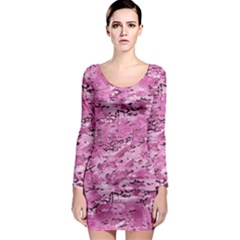 Pink Camouflage Army Military Girl Long Sleeve Bodycon Dress by snek