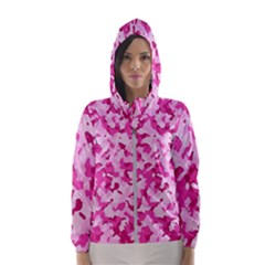 Standard Pink Camouflage Army Military Girl Funny Pattern Hooded Windbreaker (women) by snek