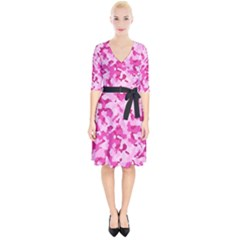 Standard Pink Camouflage Army Military Girl Funny Pattern Wrap Up Cocktail Dress by snek
