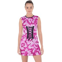 Standard Pink Camouflage Army Military Girl Funny Pattern Lace Up Front Bodycon Dress by snek