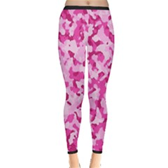 Standard Pink Camouflage Army Military Girl Funny Pattern Inside Out Leggings by snek