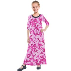 Standard Pink Camouflage Army Military Girl Funny Pattern Kids  Quarter Sleeve Maxi Dress by snek