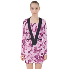 Standard Violet Pink Camouflage Army Military Girl V Neck Bodycon Long Sleeve Dress by snek