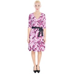 Standard Violet Pink Camouflage Army Military Girl Wrap Up Cocktail Dress by snek