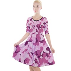 Standard Violet Pink Camouflage Army Military Girl Quarter Sleeve A Line Dress by snek