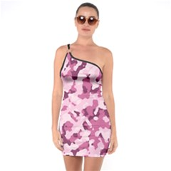 Standard Violet Pink Camouflage Army Military Girl One Soulder Bodycon Dress by snek