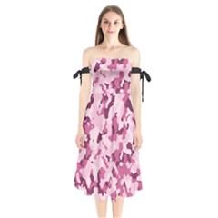 Standard Violet Pink Camouflage Army Military Girl Shoulder Tie Bardot Midi Dress by snek