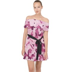 Standard Violet Pink Camouflage Army Military Girl Off Shoulder Chiffon Dress by snek