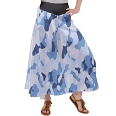 Standard Light Blue Camouflage Army Military Satin Palazzo Pants by snek