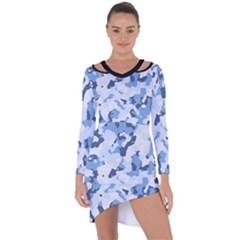 Standard Light Blue Camouflage Army Military Asymmetric Cut-out Shift Dress by snek