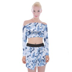 Standard Light Blue Camouflage Army Military Off Shoulder Top With Mini Skirt Set by snek