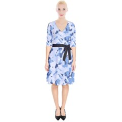 Standard Light Blue Camouflage Army Military Wrap Up Cocktail Dress by snek