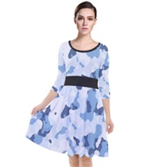 Standard Light Blue Camouflage Army Military Quarter Sleeve Waist Band Dress by snek