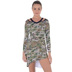 Wood Camouflage Military Army Green Khaki Pattern Asymmetric Cut Out Shift Dress by snek