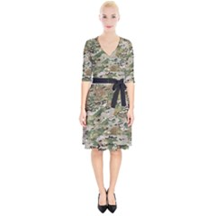 Wood Camouflage Military Army Green Khaki Pattern Wrap Up Cocktail Dress by snek