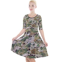 Wood Camouflage Military Army Green Khaki Pattern Quarter Sleeve A Line Dress by snek