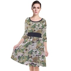 Wood Camouflage Military Army Green Khaki Pattern Quarter Sleeve Waist Band Dress by snek