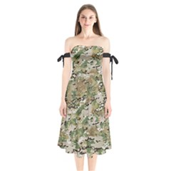 Wood Camouflage Military Army Green Khaki Pattern Shoulder Tie Bardot Midi Dress by snek