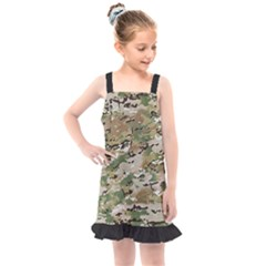 Wood Camouflage Military Army Green Khaki Pattern Kids  Overall Dress by snek