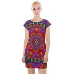 Kaleidoscope Pattern Ornament Cap Sleeve Bodycon Dress by Pakrebo