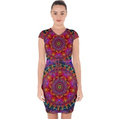 Kaleidoscope Pattern Ornament Capsleeve Drawstring Dress  by Pakrebo