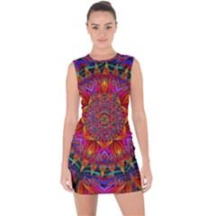 Kaleidoscope Pattern Ornament Lace Up Front Bodycon Dress by Pakrebo