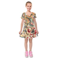 Abstract Background Pattern Art Kids  Short Sleeve Velvet Dress
