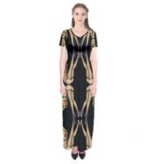 Kaleidoscope Symmetry Pattern Girls Short Sleeve Maxi Dress by Pakrebo