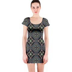 Kaleidoscope Pattern Seamless Short Sleeve Bodycon Dress