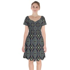 Kaleidoscope Pattern Seamless Short Sleeve Bardot Dress