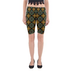 Kaleidoscope Pattern Seamless Yoga Cropped Leggings by Pakrebo